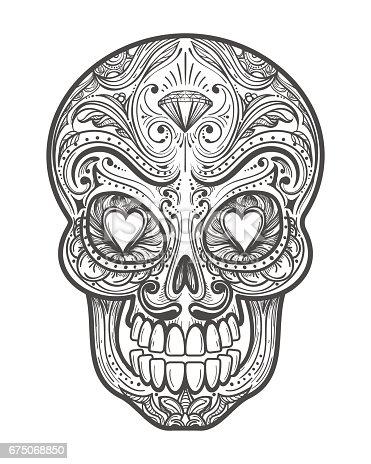 istock Sketch día del cráneo muerto el. 862346912 istock Sketch día ...