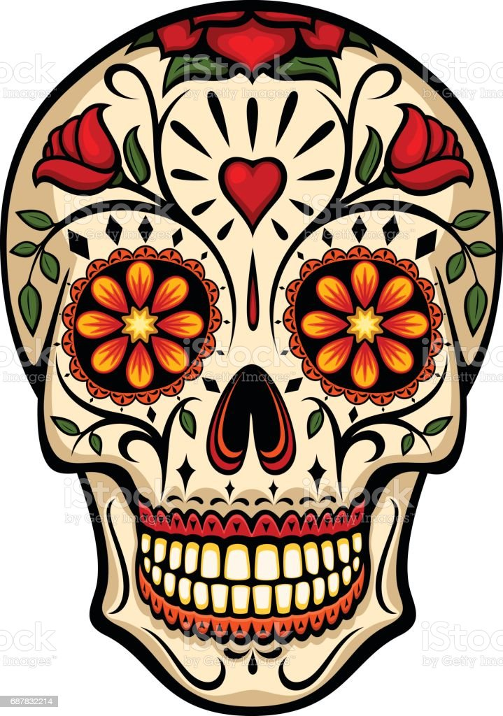Sugar Skull vector art illustration