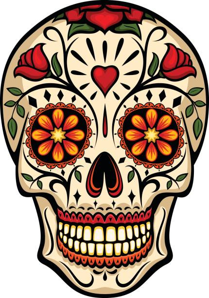 Sugar Skull vector art illustration