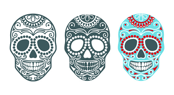 Sugar skull. Vector illustration for halloween and day of the dead.