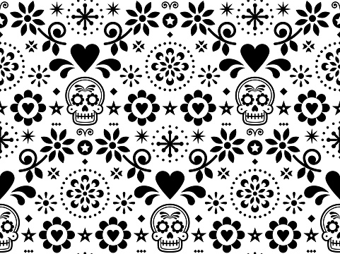 Sugar skull vector seamless pattern inspired by Mexican folk art, Dia de Los Muertos repetitive design black and white