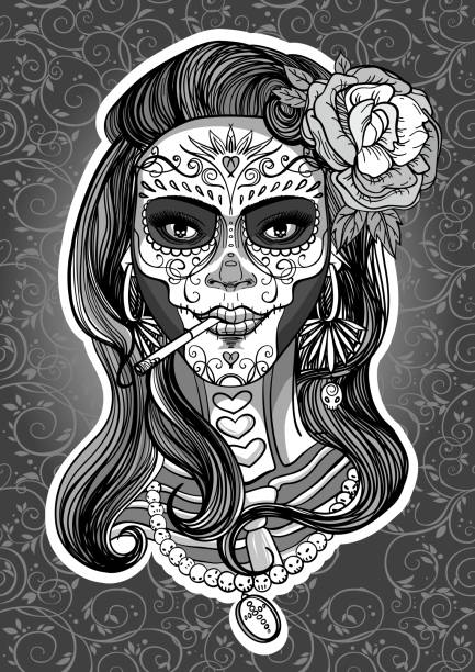 sugar skull woman woman with sugar skull makeup, day of the dead skulls tattoos stock illustrations