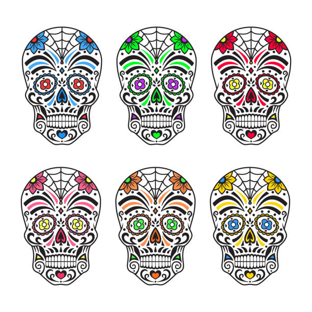 Ilustración de Calaveras De Azúcar Coloridos Tatuajes Mexicana Día ...