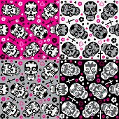 Sugar skulls Day of the Dead Seamless backgrounds set.