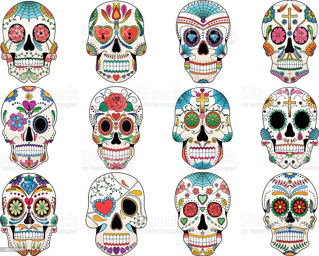 Sugar Skulls Day of the Dead Vector Set vector art illustration