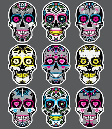 Sugar skulls Day of the Dead Vector set