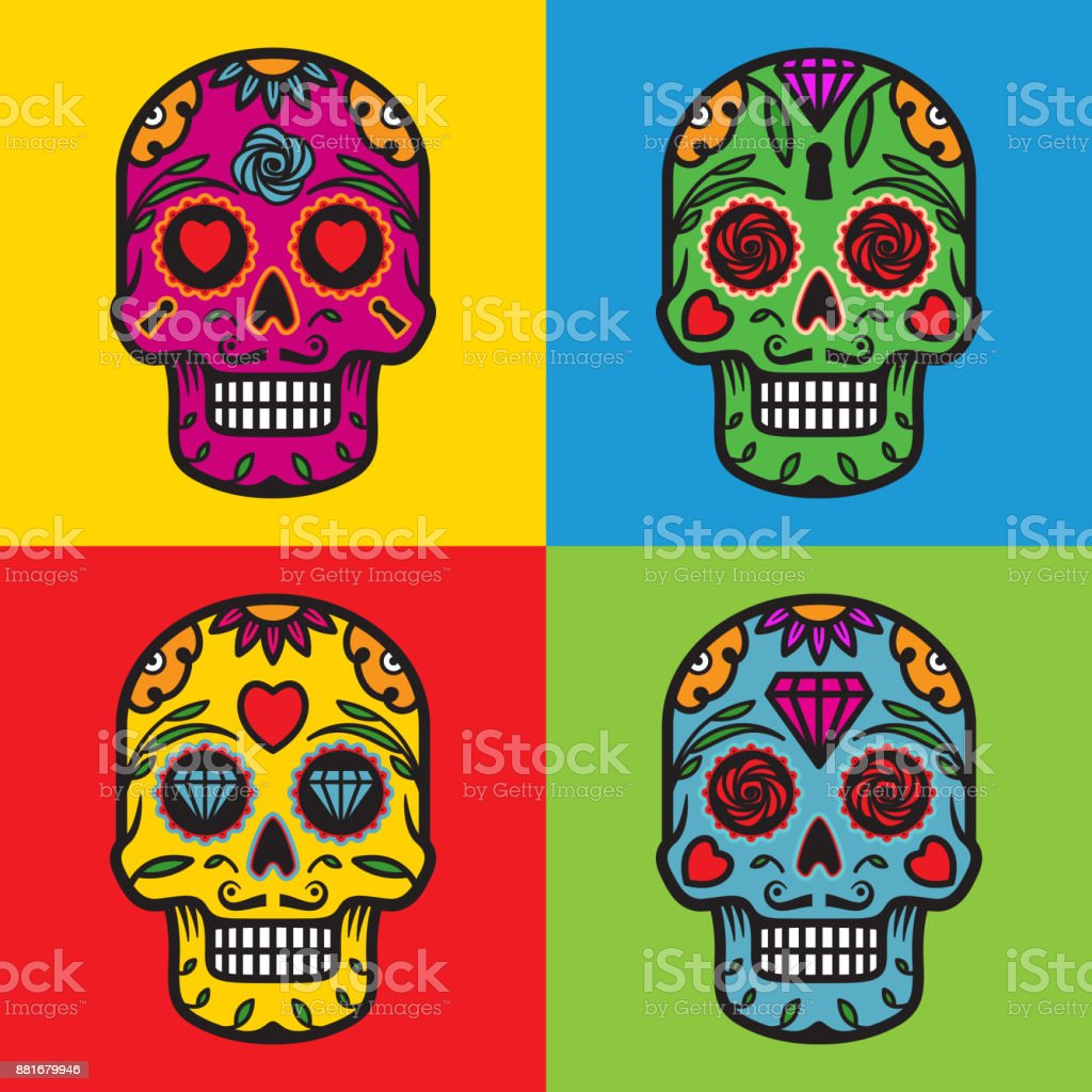 sugar skulls pop art vector illustration vector art illustration