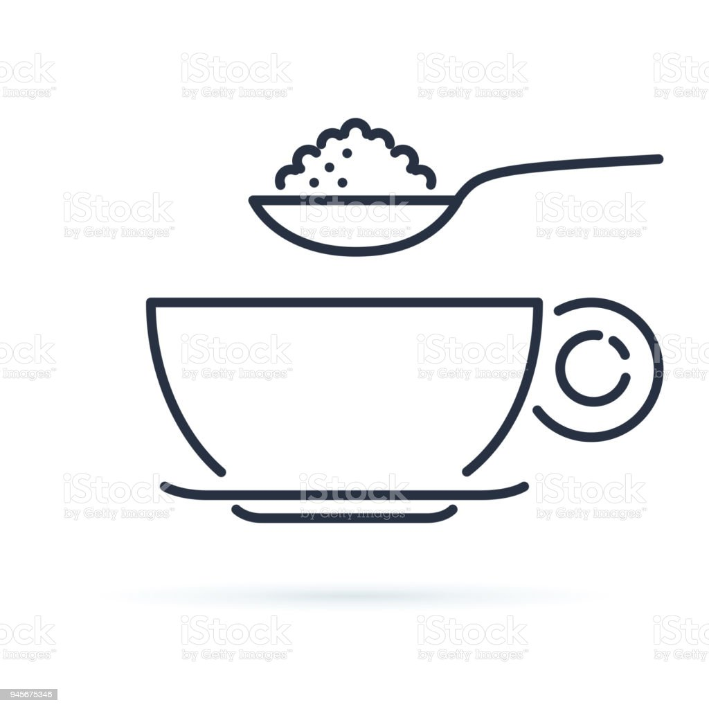 Sugar spoon icon line symbol. Isolated vector illustration of icon sign concept for your web site mobile app logo UI design. royalty-free sugar spoon icon line symbol isolated vector illustration of icon sign concept for your web site mobile app logo ui design stock illustration - download image now