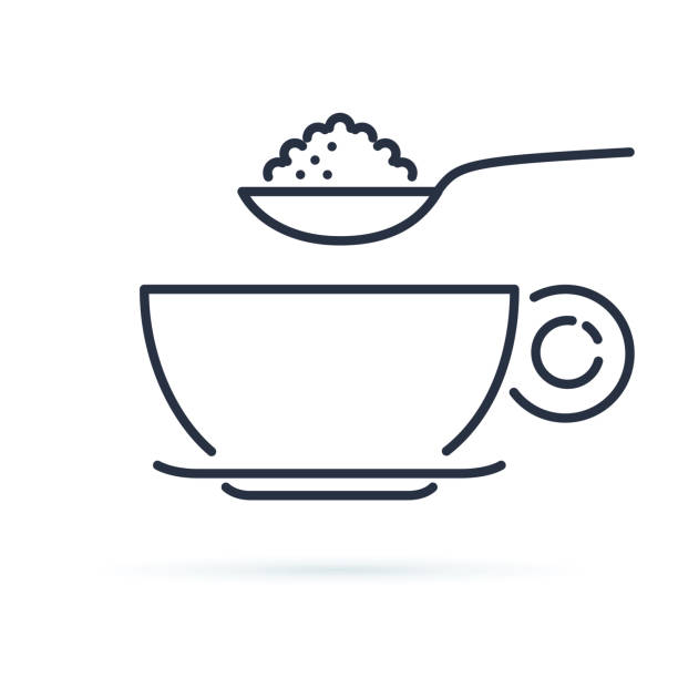 Sugar spoon icon line symbol. Isolated vector illustration of icon sign concept for your web site mobile app logo UI design. Sugar spoon icon line symbol. Isolated vector illustration of icon sign concept for your web site mobile app logo UI design. Coffee or tea cup and spoon with nutrition. Breakfast or cafe icon. spoon stock illustrations