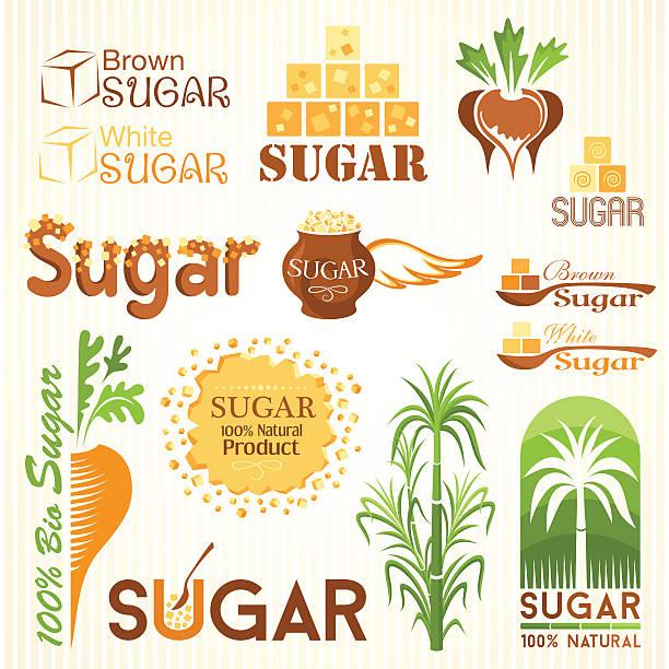 illustrazioni stock, clip art, cartoni animati e icone di tendenza di zucchero simboli, icone e altri elementi di design - illustrazioni di canna da zucchero