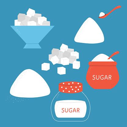 Sugar vector cartoon set.