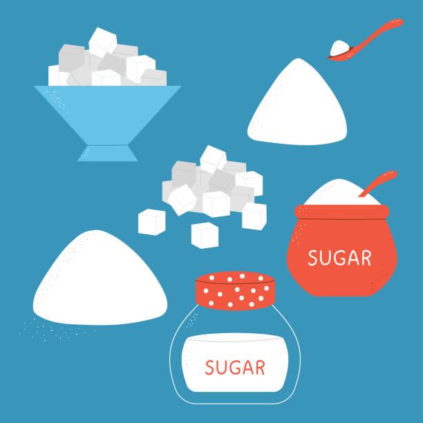 ilustrações de stock, clip art, desenhos animados e ícones de sugar vector cartoon set. - açúcar