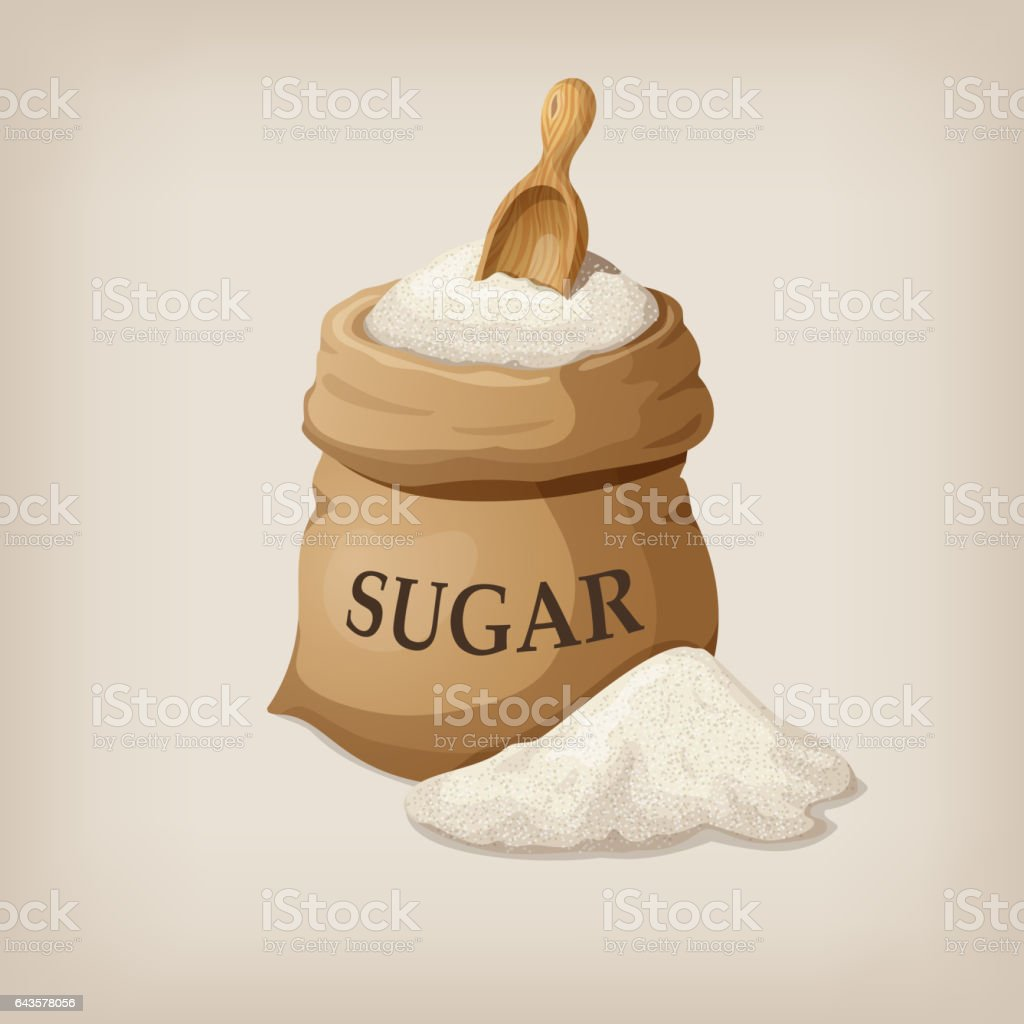 Sugar with scoop in burlap sack. Vector illustration vector art illustration
