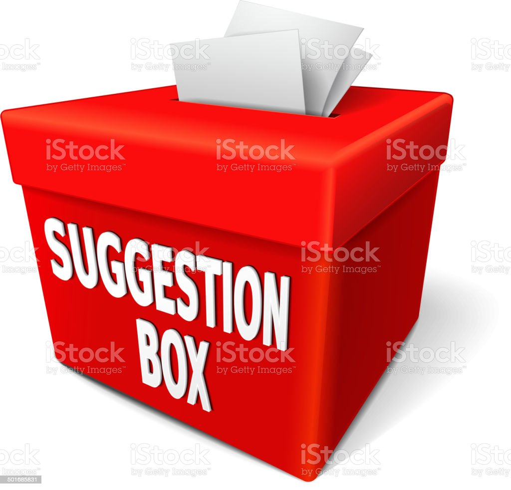 suggestion box with feedback notes vector art illustration