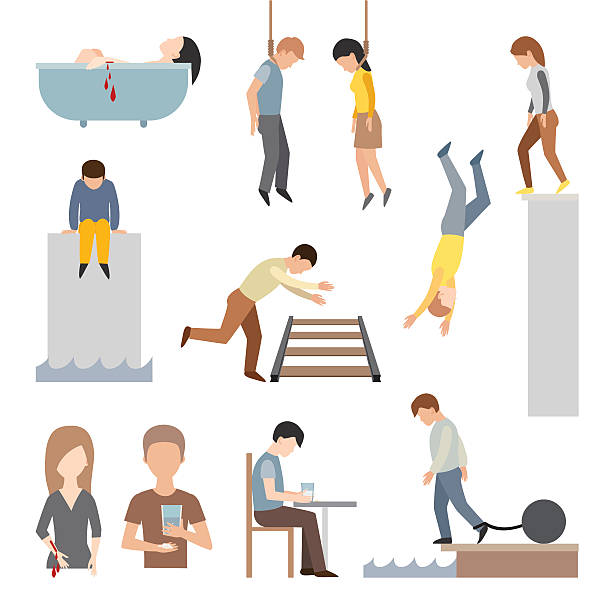 Suicidal commit suicide people methods stick cartoon figure flat vector Suicide people cartoon symbols and suicide flat character alone people vector. Suicidal commit suicide people methods stick cartoon figure flat vector icons.  suicide stock illustrations