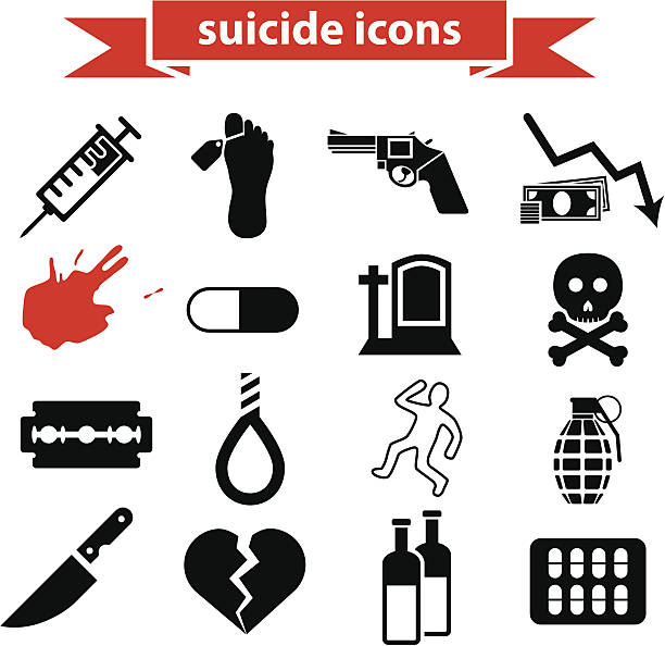 suicide icons vector art illustration