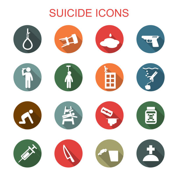 suicide long shadow icons suicide long shadow icons, flat vector symbols suicide stock illustrations