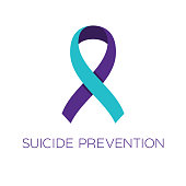 istock Suicide prevention ribbon. Purple and turquoise color. Disease prevention, diagnosis, treatment, cure and support campaign. 1265941741