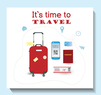 Suit case, passport, phone, bank card and boarding pass for traveling, set of items for traveling, traveling concept, flat vector illustration