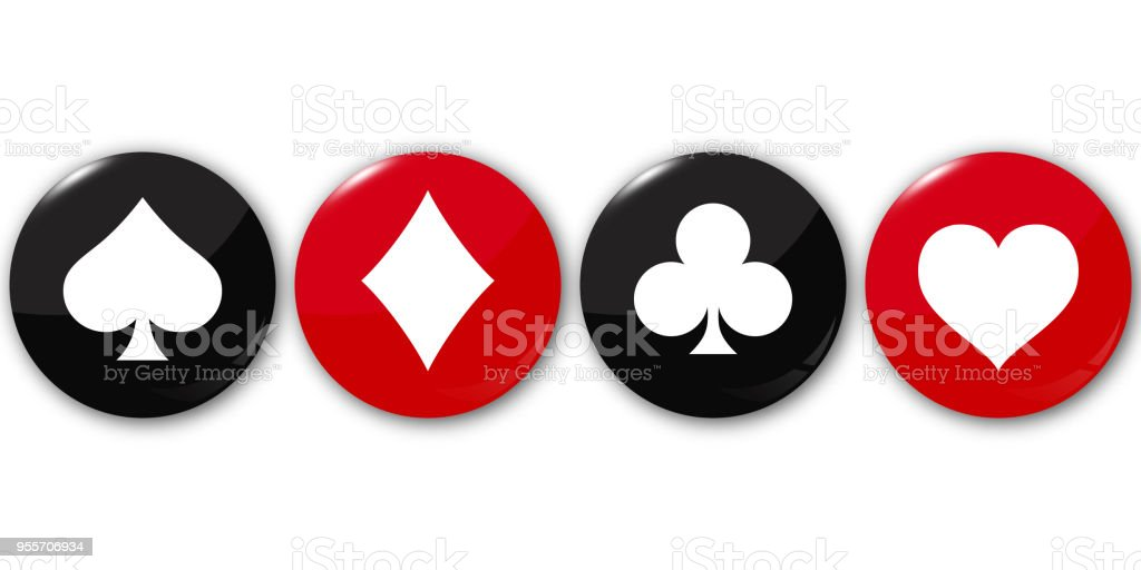 Suit deck of cards on round buttons. Vector illustration. vector art illustration