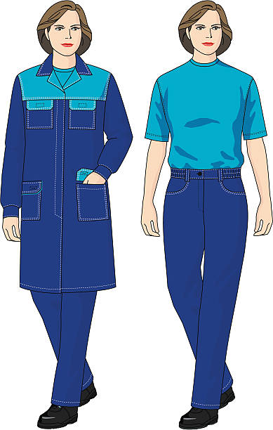 Suit for the woman The complete set of clothes for the woman consists of a dressing gown and trousers hot pockets stock illustrations