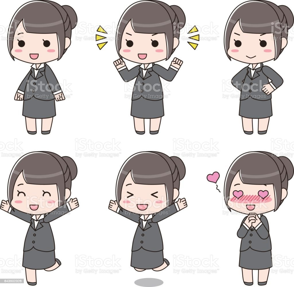 Suit girls vector art illustration