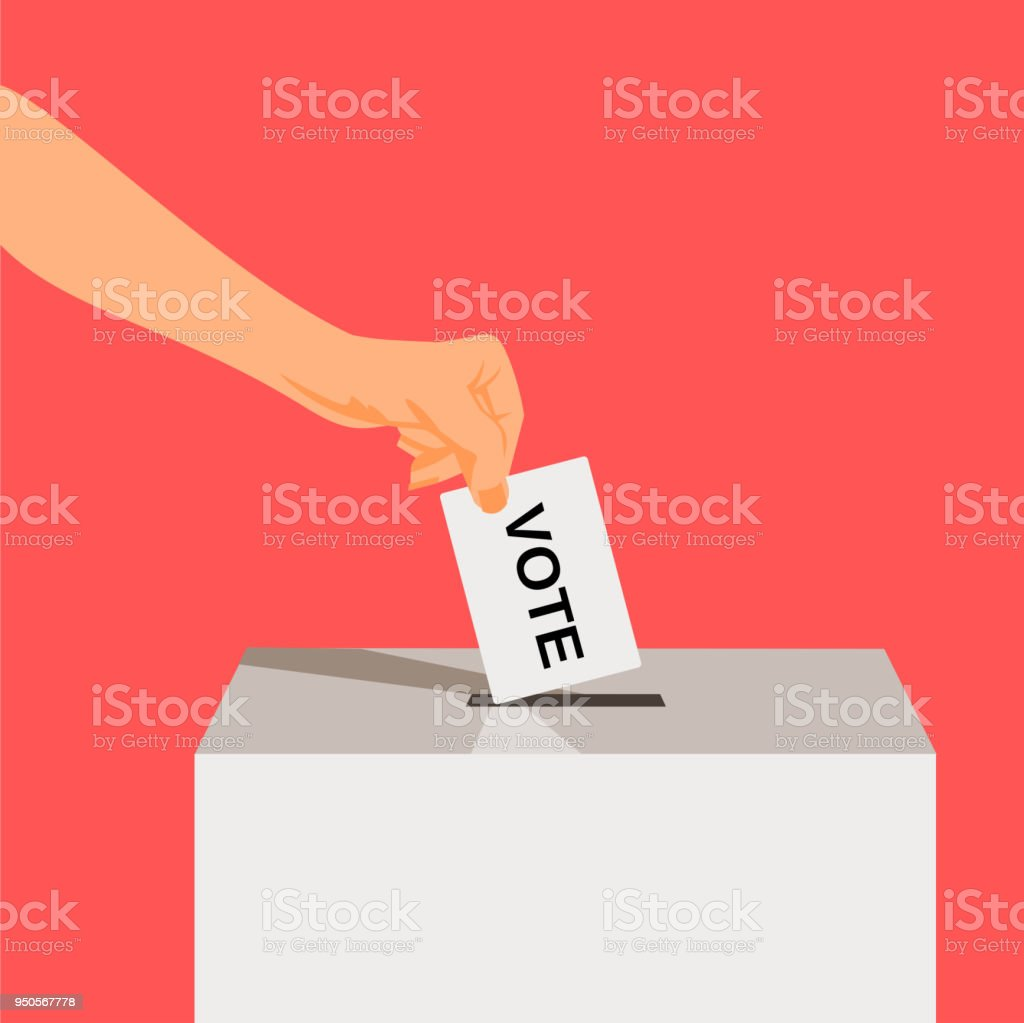 Suit Hand puts voting ballot in ballot box. vector art illustration