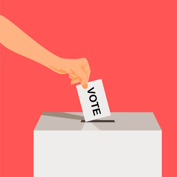 Suit Hand puts voting ballot in ballot box. vector art illustration