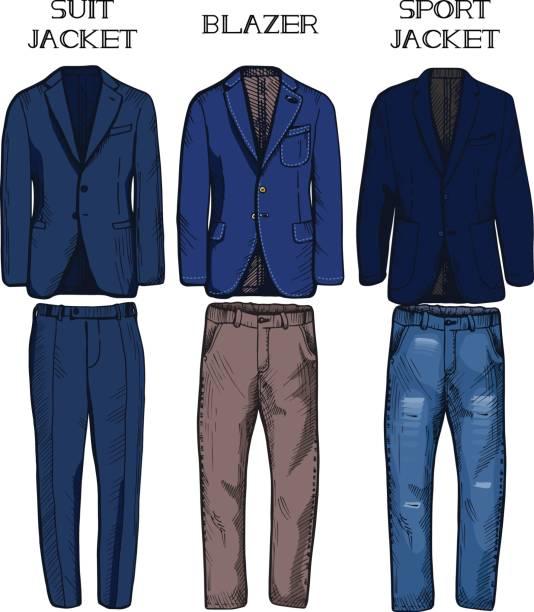stockillustraties, clipart, cartoons en iconen met pak jasje, blazer, sport jas - men blazer