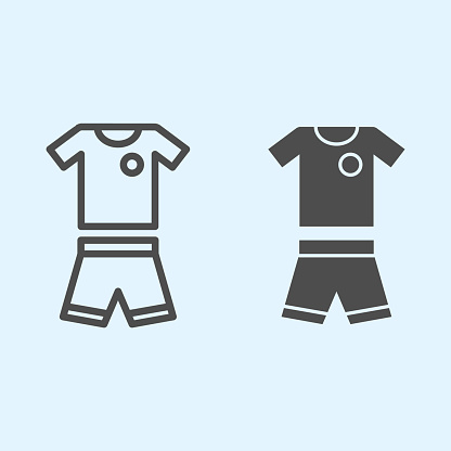 Suit line and solid icon. Shorts and t-shirt, baseball or football uniform cloth. Sport vector design concept, outline style pictogram on white background, use for web and app. Eps 10.