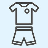 Suit line icon. Shorts and t-shirt, baseball or football uniform cloth. Sport vector design concept, outline style pictogram on white background, use for web and app. Eps 10.