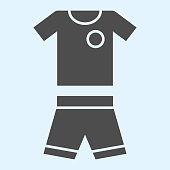 Suit solid icon. Shorts and t-shirt, baseball or football uniform cloth. Sport vector design concept, glyph style pictogram on white background, use for web and app. Eps 10.