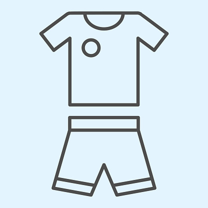 Suit thin line icon. Shorts and t-shirt, baseball or football uniform cloth. Sport vector design concept, outline style pictogram on white background, use for web and app. Eps 10.