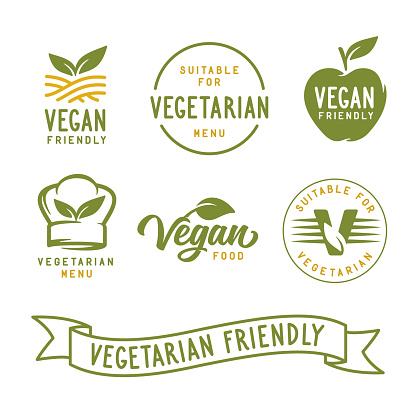 Suitable for vegetarian. Vegan related labels set. Vector vintage illustration.