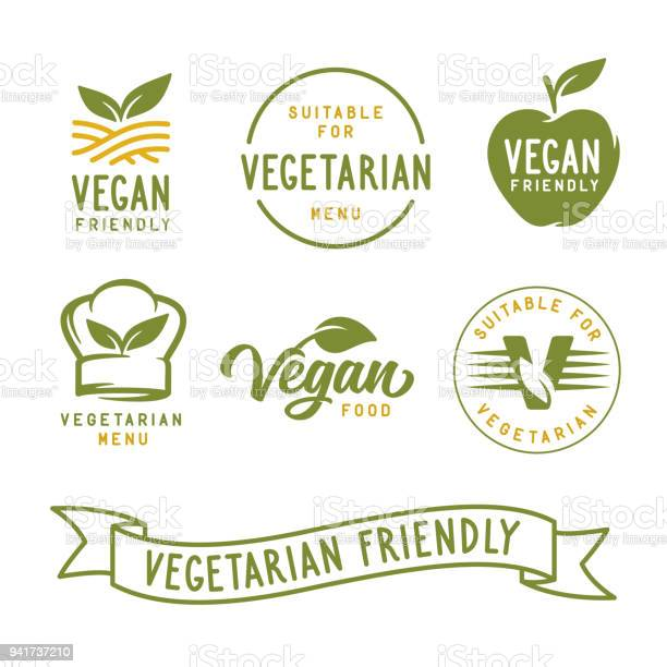 Suitable For Vegetarian Vegan Related Labels Set Vector Vintage Illustration - Arte vetorial de stock e mais imagens de Alimentação Saudável