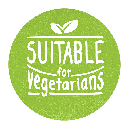 Suitable for Vegetarians badge - food products sticker stamp with non-meat composition - isolated vector emblem