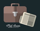 Suitcase and document icon. Office Instrument design. Vector gra