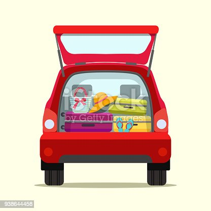 istock Suitcase, bags and other luggage in the trunk of the car on the back. Vector flat  illustration 938644458