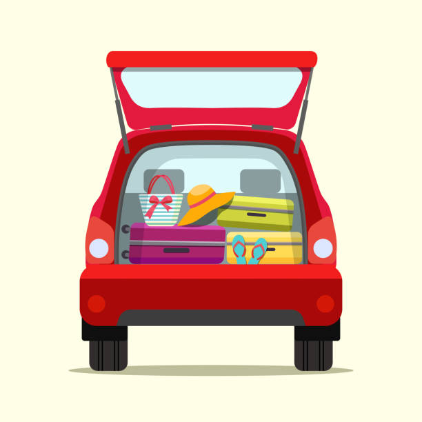 Suitcase, bags and other luggage in the trunk of the car on the back. Vector flat  illustration Suitcase, bags and other luggage in the trunk of the car on the back. Vector flat style illustration hatchback stock illustrations