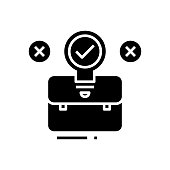 Suitcase black icon, concept illustration, glyph symbol, vector flat sign.