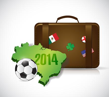 Suitcase brazil 2014 trip illustration design