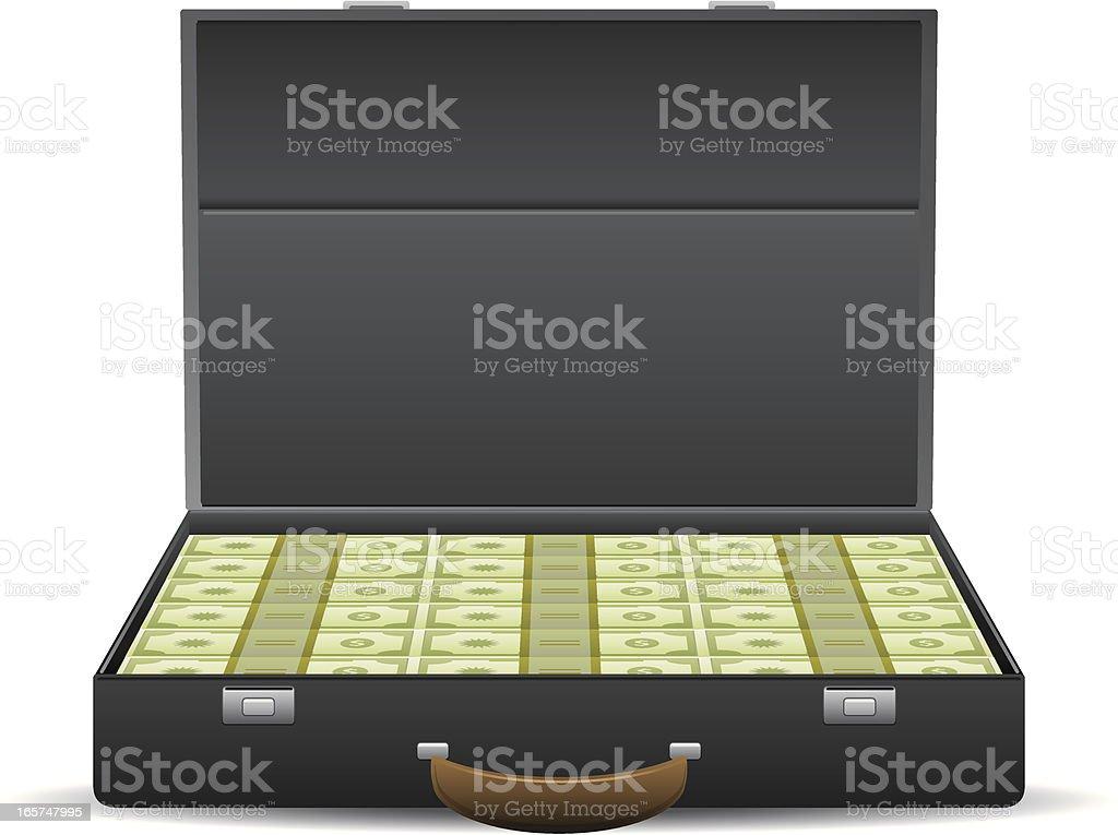 Suitcase Full of Cash vector art illustration