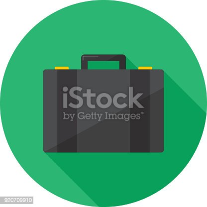 Vector illustration of a suitcase against a green background in flat style.