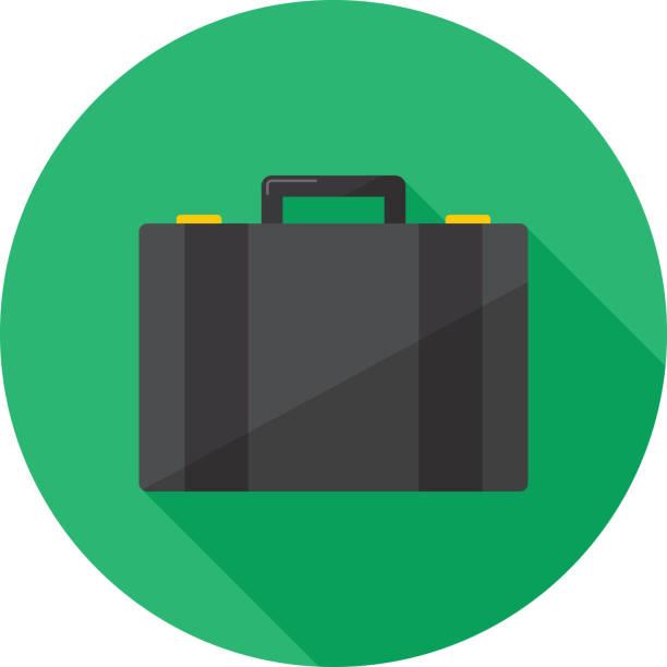 illustrazioni stock, clip art, cartoni animati e icone di tendenza di suitcase icon flat - borsa 24 ore