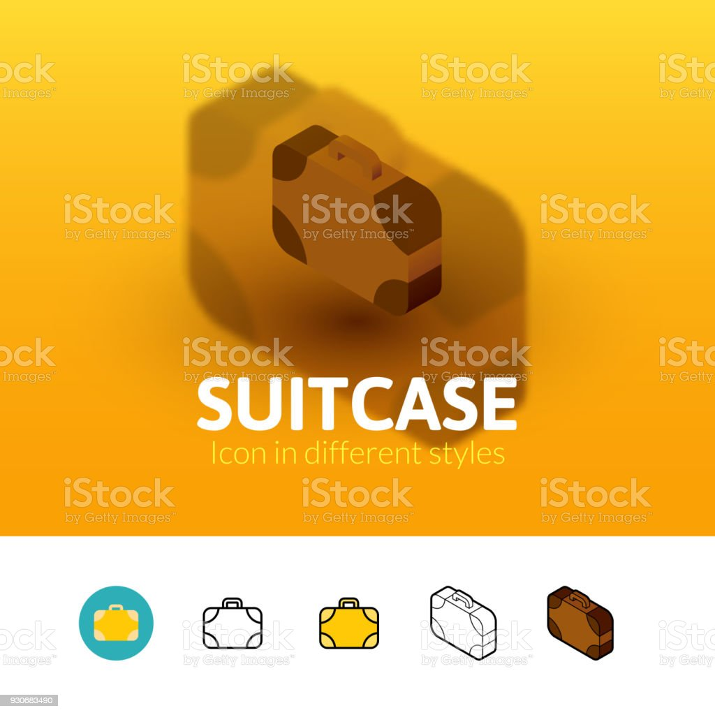 Suitcase icon in different style vector art illustration