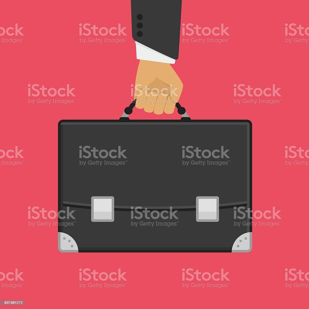 Suitcase in hand on red. – Vektorgrafik