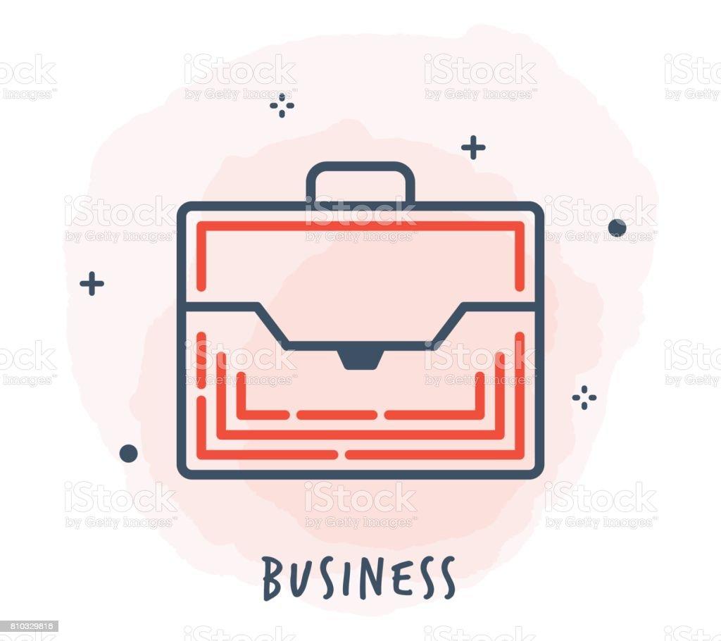 Suitcase Line Icon vector art illustration