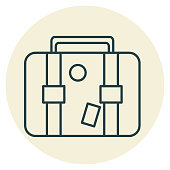 A thin line icon in a travel theme. Suitcase.