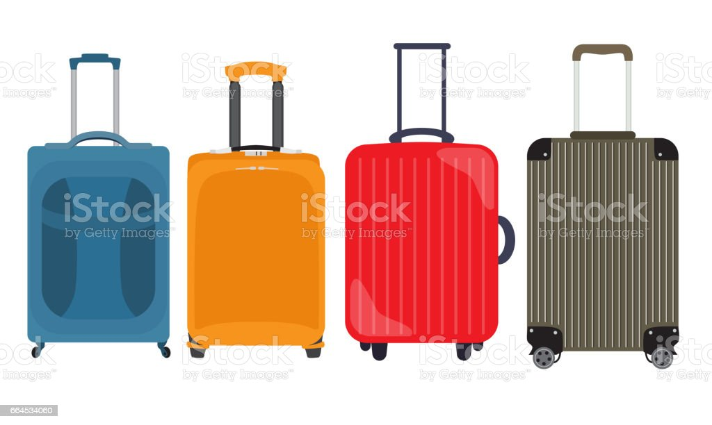 Suitcase, Travel Bag Flat Icon Set Collection. Vector Illustrati royalty-free suitcase travel bag flat icon set collection vector illustrati stock vector art & more images of bag