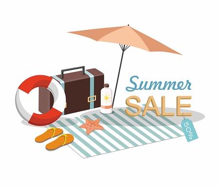 Suitcase, umbrella and Beach Accessories . Discount Summer sale goods